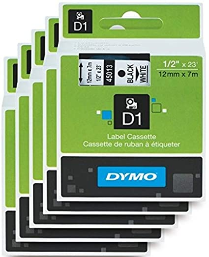 DYMO Standard D1 Labeling Tape for Labe lManager Label Makers, Black Print  on White Tape, 1/2