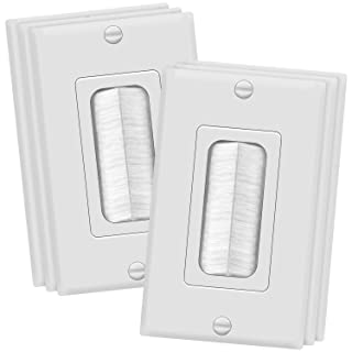 """TOPGREENER Bristled Brush Wall Plate Multimedia Pass-Through Insert with Decorator Wall Plate for Low Voltage Cables, Size 1-Gang 4.50"""" x 2.75"""", Polycarbonate Thermoplastic, TG8891-6PCS, White 6 Pack"""