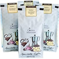 Coffee Masters Flavored Coffee, Hazlenut, Whole Bean, 12-Ounce Bags (Pack of 4)
