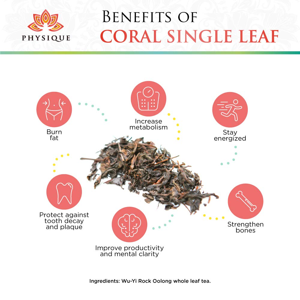 Wu-Yi Rock Oolong Tea 8oz (300 servings) - For Weight Loss and Focus - Reduce Brain Fog and Manage Weight - Coral by Physique Tea by Physique Tea (Image #2)