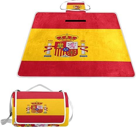 Printedin3D - Manta de Picnic con diseño de la Bandera de España (57 x 59 Pulgadas): Amazon.es: Deportes y aire libre