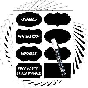 Chalkboard Labels -80 Premium Chalkboard Sticker + White Chalk Marker. Reusable Chalkboard Vinyl Labels for Kitchen,Labels for Jars,Pantry Labels,Chalkboard Sticker.