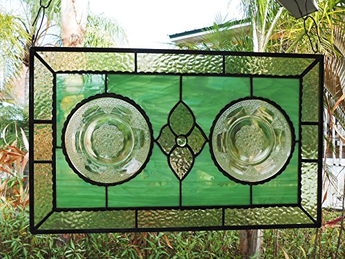 Antique Stained Glass Window Panel, Valance, Transom with Recycled 1930s Depression Glass Georgian Plates, Unique Home Decor, Federal Glass (1930's Glass Depression)
