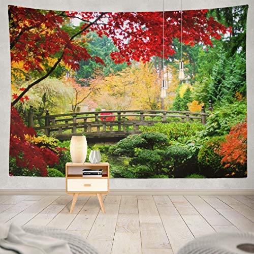 "Kutita Tapestry Wall Hanging Bridge Japanese Garden Fall Season Japan Color Zen Wall Tapestry Home Decorations for Bedroom Living Room Dorm Decor in 80"" WX60 L Inches from Kutita"