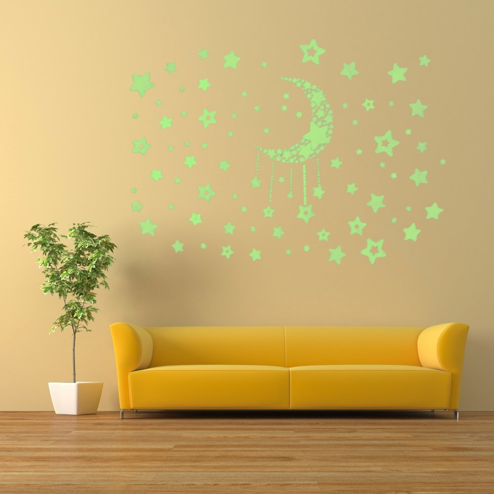 Amazon.com: Glow In The Dark Star and Moon Fluorescent Wall Stickers ...
