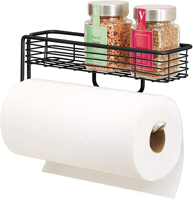 mDesign Wall Mount Metal Paper Towel Holder with Storage Shelf for Kitchen, Pantry, Laundry, Garage Organization - Shelf Holds Spice Bottles, Glass Jars, Oils and Vinegars - Black