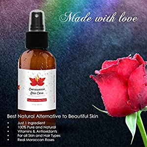 Moroccan Organic Rose Water Spray, All Natural Facial Toner and Cleanser - 100% Pure Rosewater Mist for Healthy Skin - Vitamins A & C Soothe Dry, Acne Prone, Sensitive & Oily Skin w/4 oz Glass Bottle