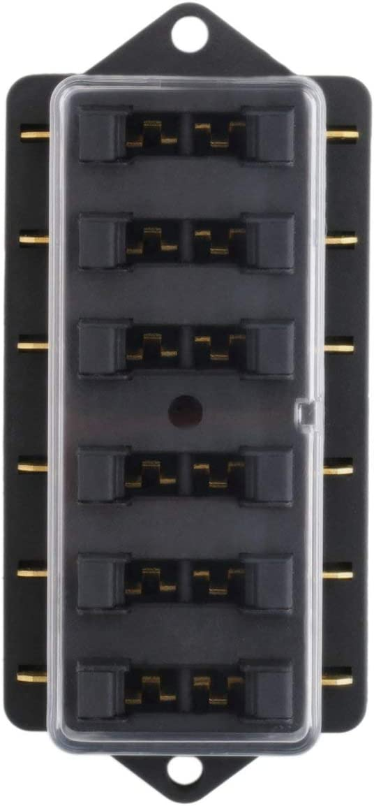 MachinYesity Scatola di porta fusibili universale a 6 vie con fusibile a 6 vie Scatola portafusibili per automobile Circuito automobilistico Lama di accessori per auto