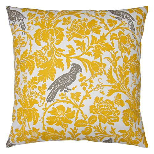 JinStyles Floral Parrot Cotton Canvas Decorative Throw Pillow Cover (White and Yellow, 26 x 26 Inches)