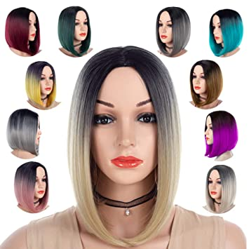 Best Short Bob Wig Middle Part Ombre Blonde 613 for Women or Girls Cosplay  Daily Party 351ef02ae