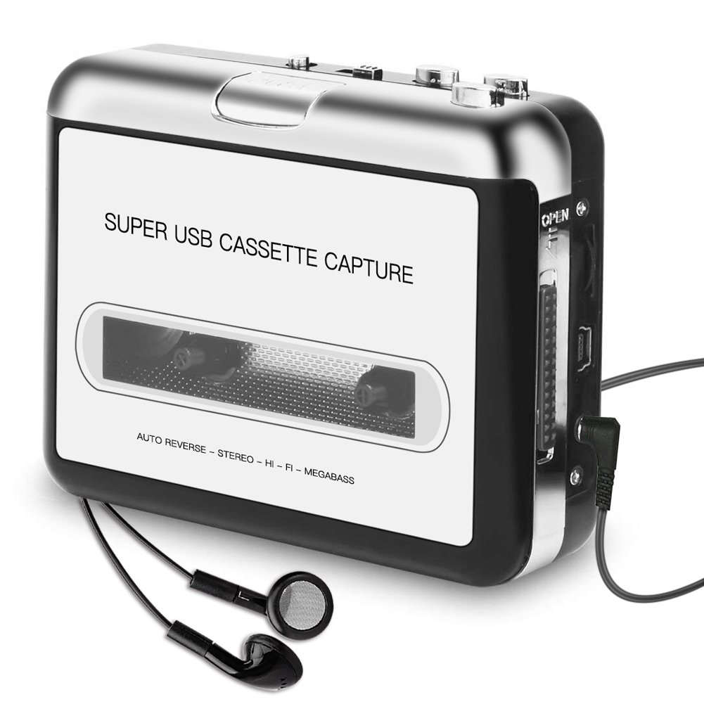 [Updated Version]Cassette Player Portable, ASINNO Cassette Player to MP3 Converter CD Music/Walkman Tapes Recorder Via USB Compatible with Laptops&PC with Earphones