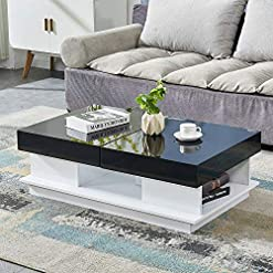Living Room HomeSailing Modern Black High Gloss Coffee Table with 2 Storage Drawers Living Room Large Sofa End Table Wood Frame… modern coffee tables