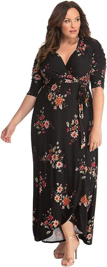 Kiyonna Women's Plus Size Meadow Dream Maxi Dress,Floral Bouquet,0X Plus
