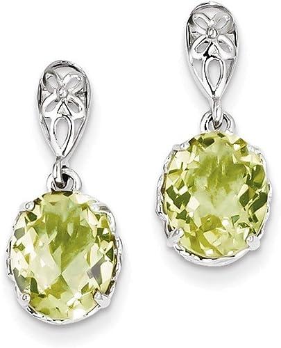 925 Sterling Silver Lemon Quartz Post Earrings