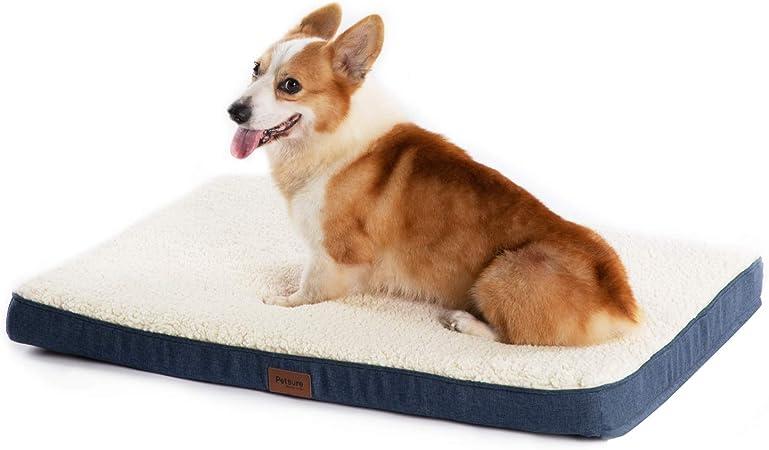 Cama ortopédica para perros Petsure M/L/XL (30/36/44 pulgadas) para mascotas pequeñas, medianas, grandes hasta 50/75/100 libras – Cama para perros de espuma con forro polar de felpa – Funda lavable – gris/azul