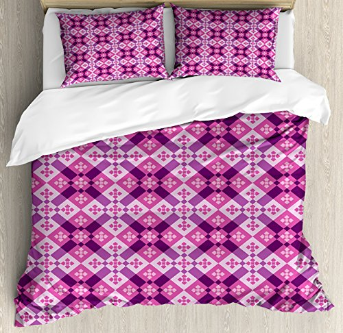 Style Floorboards (Abstract Queen Size Duvet Cover Set by Ambesonne, Geometric Tiles Square and Rectangles Floorboard Style Modern Art, Decorative 3 Piece Bedding Set with 2 Pillow Shams, Fuchsia Hot Pink Pale Mauve)