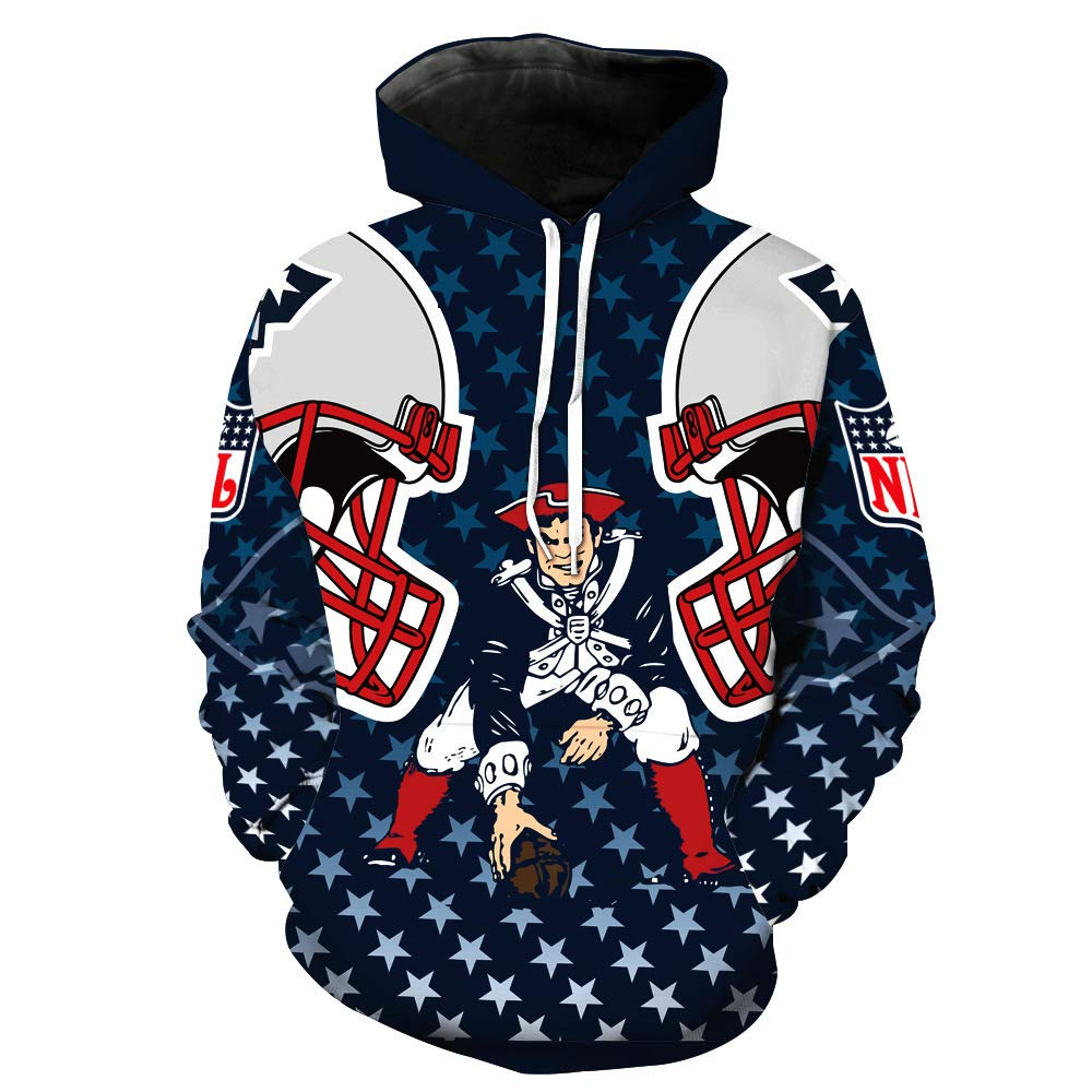 FBALL-49 Mens 3D Printed Football Team Hoodie Personality Fashion Pullover