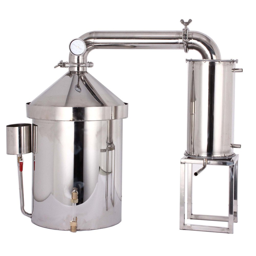 32~160L Wine Making Kits Moonshine Still Water Alcohol Distiller Brandy Grape Vodka Spirit Essential Oil Distillation Home Brewing Kit With Water Pump Thermometer 304 Stainless Steel