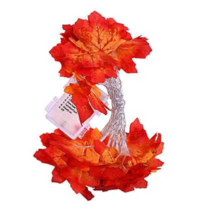 Amazon.com: Ecurson Fall Maple Leaf Garland 20 LED Maple ...