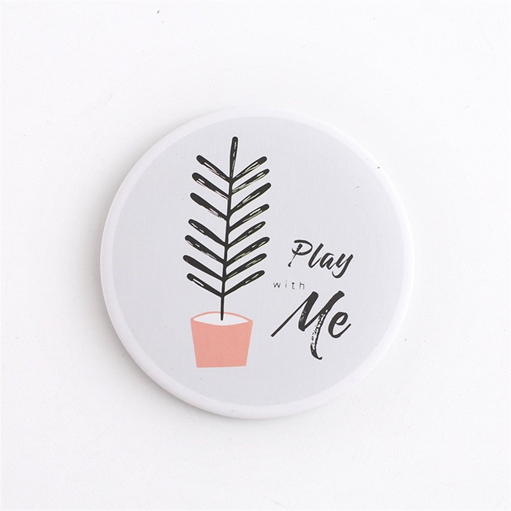 Yingealy Childrens Mirror Mini Round Cartoon Plant Pattern Small Glass Mirrors Circles for Crafts Decoration Cosmetic Accessory