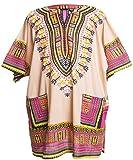 Ragstock Traditional African Print Unisex Dashiki, Tan