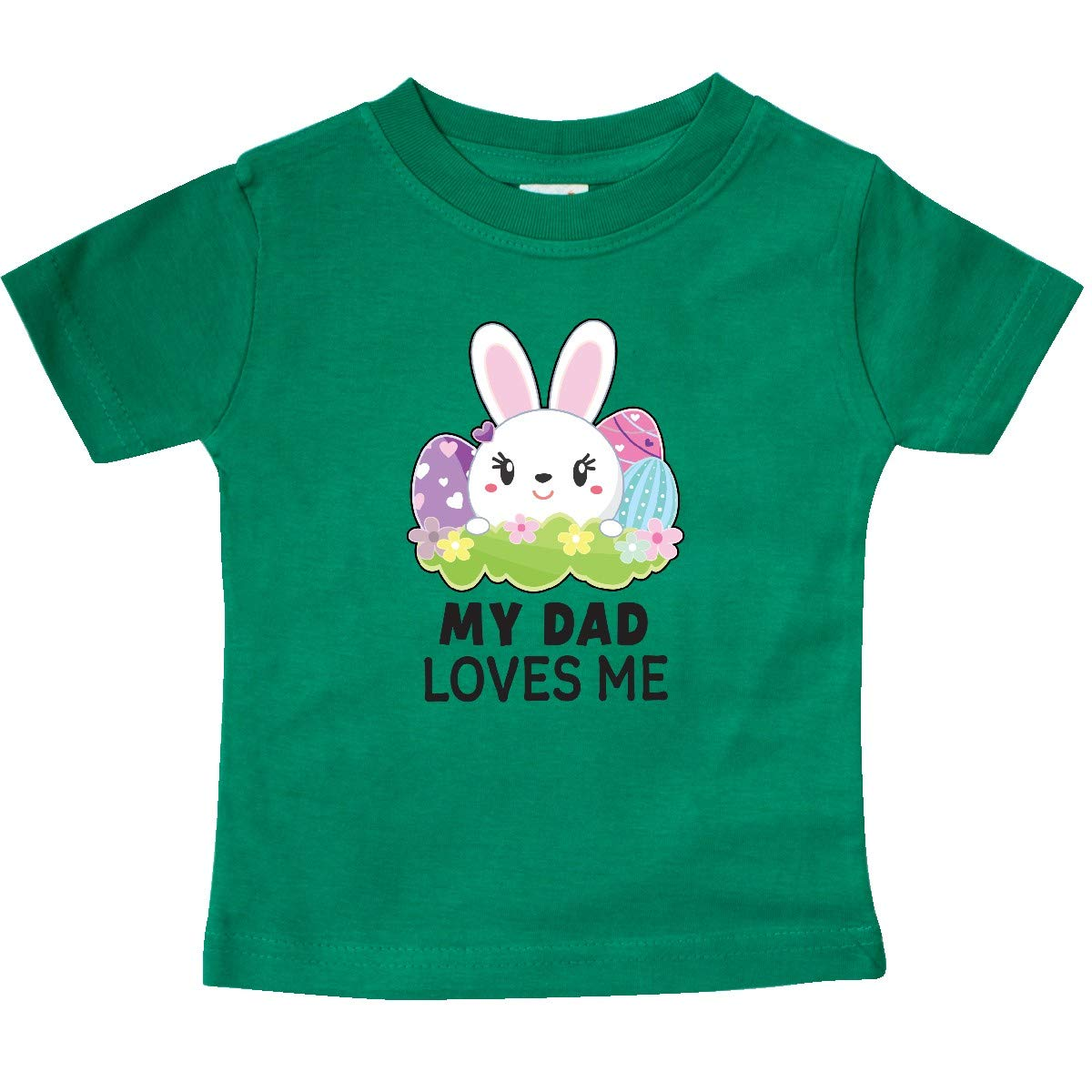 inktastic My Dad Loves Me with Bunny and Easter Eggs Baby T-Shirt