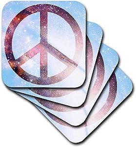 3dRose CST_40217_2 Stars Blue Sky Universe Peace Sign-Inspirational Art Soft Coaster (Set of 8)