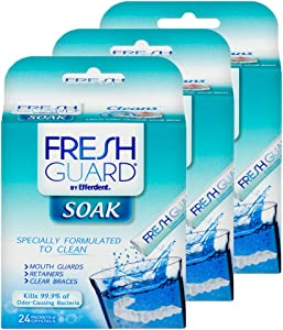 Fresh Guard Soak by Efferdent, Cleans Guards & Retainers, 24 Count, 3 Pack