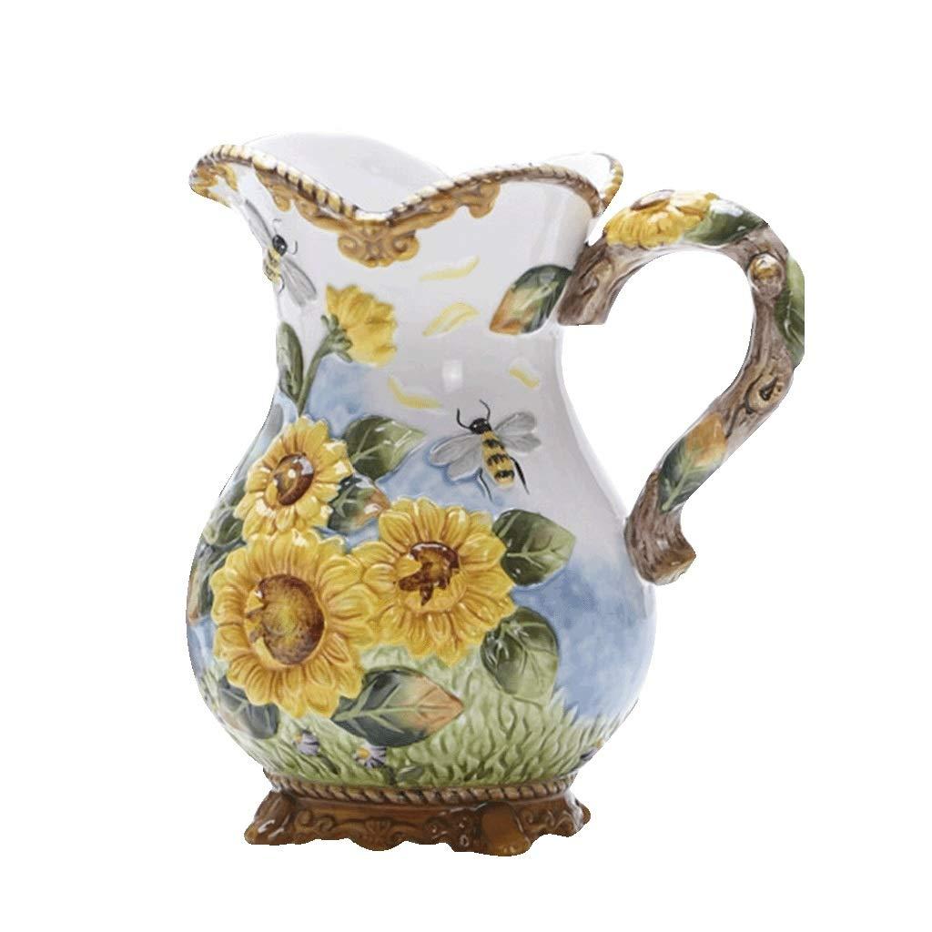 ホームデコレーション花花瓶セラミックス水タンクひまわりフラワーポットボトル anQna B07SDN519W