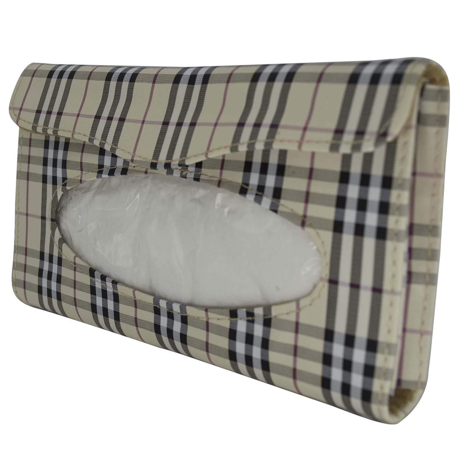 SAPPSEN Auto Accessories Plaid Paper Napkin Holder Box Tissue Case Cover for Car Sun Visor Can Be Fixed in The Car Sun Visor Car Backseat and The Door of The Car