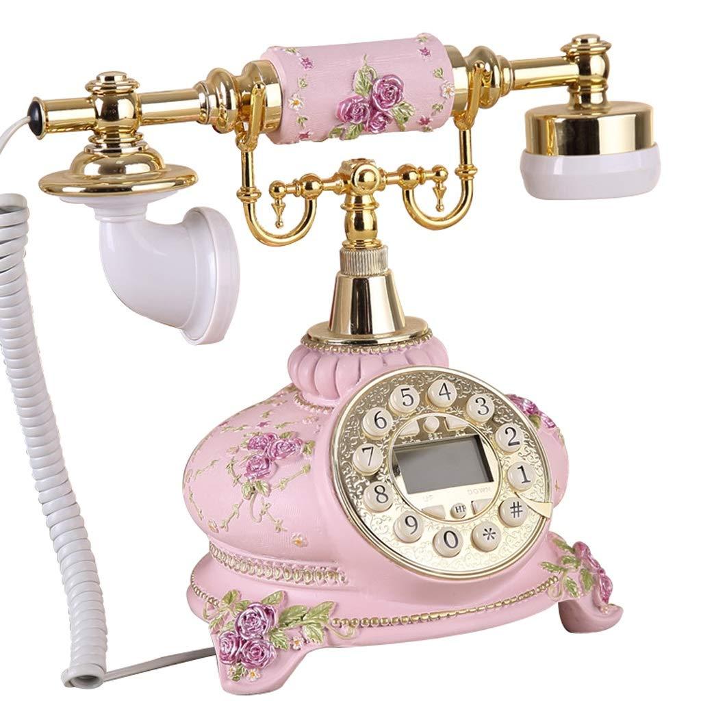 家の固定電話、色および様式のさまざまで利用できるビンテージの古典的な有線の電話家およびオフィスの装飾、 (三 : Pink-c) B07JJGYDJQ Pink-c