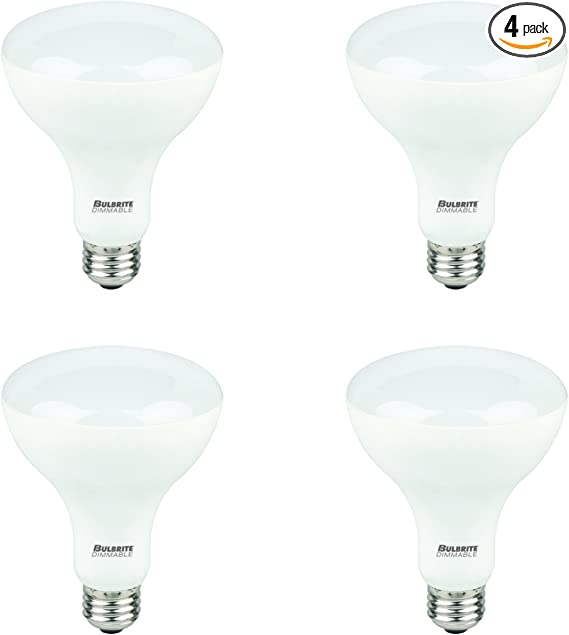Bulbrite Led Br30 Dimmable Medium Screw Base E26 Light Bulb 65 Watt Equivalent 2700k 4 Piece Amazon Com
