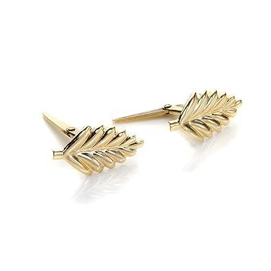 9ct Yellow Gold Andralok Leaf Stud Earrings/Studs ifZ9UaTqRK