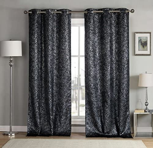 kensie Maddie Silver Metallic Textured Blackout Darkening Grommet Top Window Curtains Pair Drapes for Bedroom, Living Room-Set of 2 Panels, W38 X L84, Black