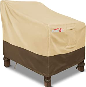 "Patio Chair Covers, Waterproof Outdoor Sofa Cover Standard 30"" W x 37"" D x 31"" H, 600D Heavy Duty with 2 Air Vents for All Weather, Patio Furniture Covers (Khaki, Brown)"