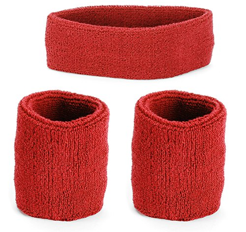 RUNPO Cotton Wristbands and Headband - Set of 2 Wristbands, 1 Headband – Sweat proof - Perfect for Workouts or Sports