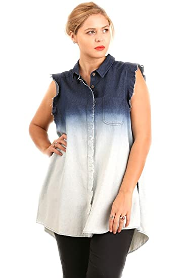 ad0b0ee96f Umgee Plus Size Button up Denim Shirt Sleeveless with Raw Edges On Sleeves  (1X)
