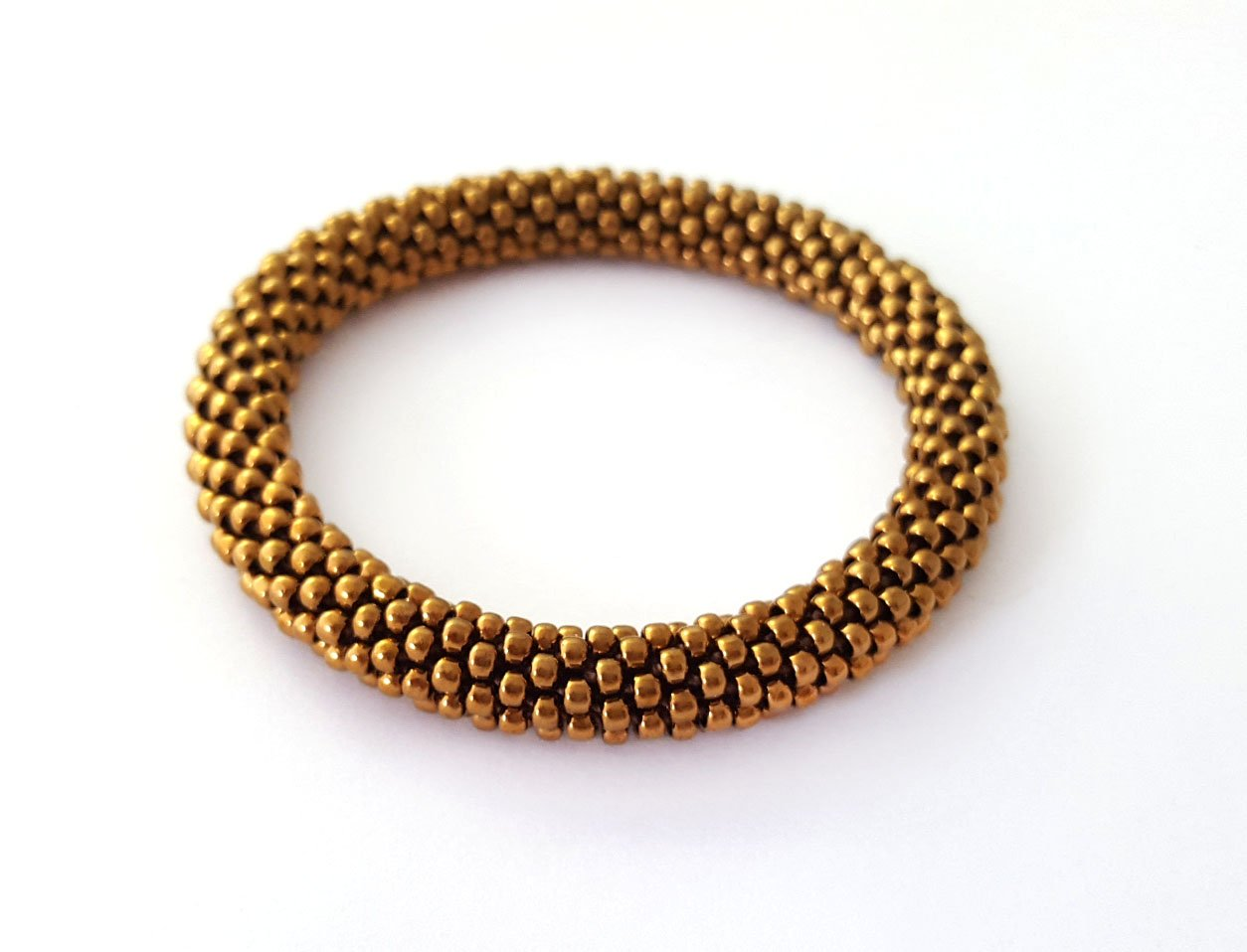 Bronze Roll On Bracelet Nepalese Bangle Beaded Wristband