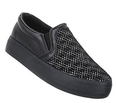 fe1854d278 Schuhcity24 Damen Sneakers | Sneaker Flach | Sportliche Glitzer  Freizeitschuhe | Halbschuhe Plateau Sohle | Metallic Schuhe | Schwarze  Schuhe: Amazon.de: ...