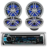 New Kenwood Outdoor Marine Boat /Car ATV AM/FM Radio CD/MP3 USB iPod iPhone Pandora Stereo Player with 4 New 6.5'' Inch Charcoal Marine Speakers System - Great Marine Audio Package