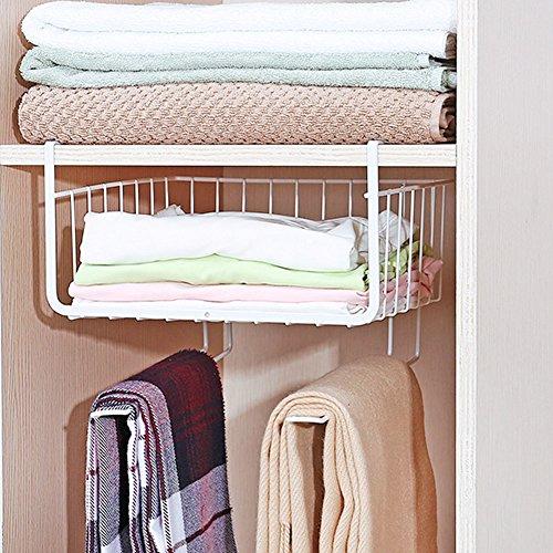 Under Shelf Wire Rack Basket Kitchen Organizer, Stainless Steel, White