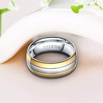 Details about  /6mm Titanium Two Tone Wedding Ring Band