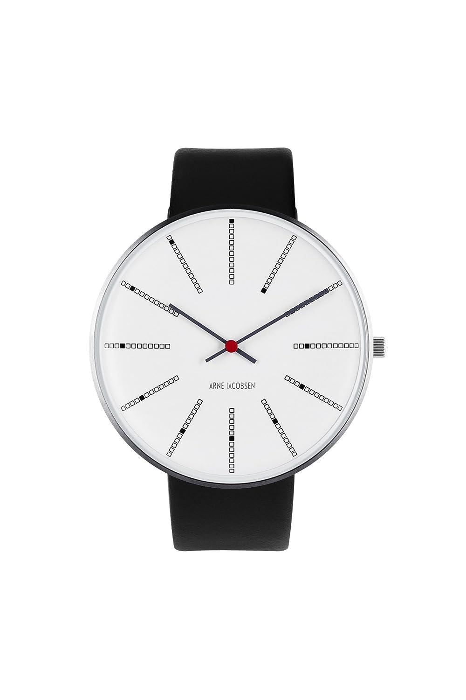 Arne Jacobsen Unisex Quarzuhr mit weißem Zifferblatt Analog-Anzeige und schwarz Lederband 53103