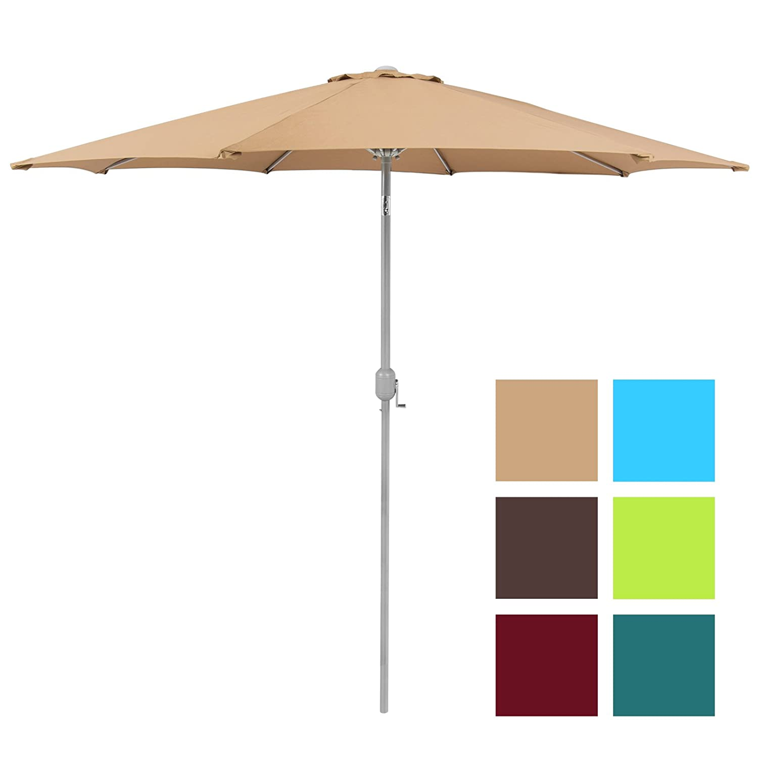 Best Choice Products Patio Umbrella 9' Aluminum Patio Market Umbrella Tilt  W/ Crank Outdoor - Patio Umbrellas Amazon.com