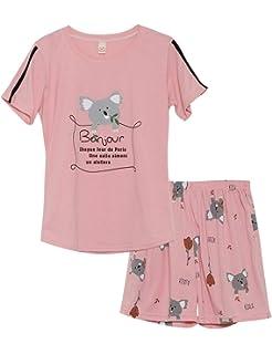 9d774cc15 Jashe Big Girls Summer Cotton Pajamas Set Pink Bunnies Shorts Sleepwear for  Teens Size 12 14