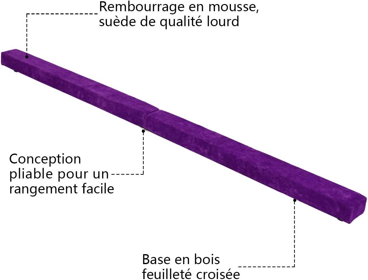 Poutre D/équilibre en Mousse avec Daim Faux Cuir pour Enfant Adulte 2,1M COSTWAY Poutre Gymnastique Pliable