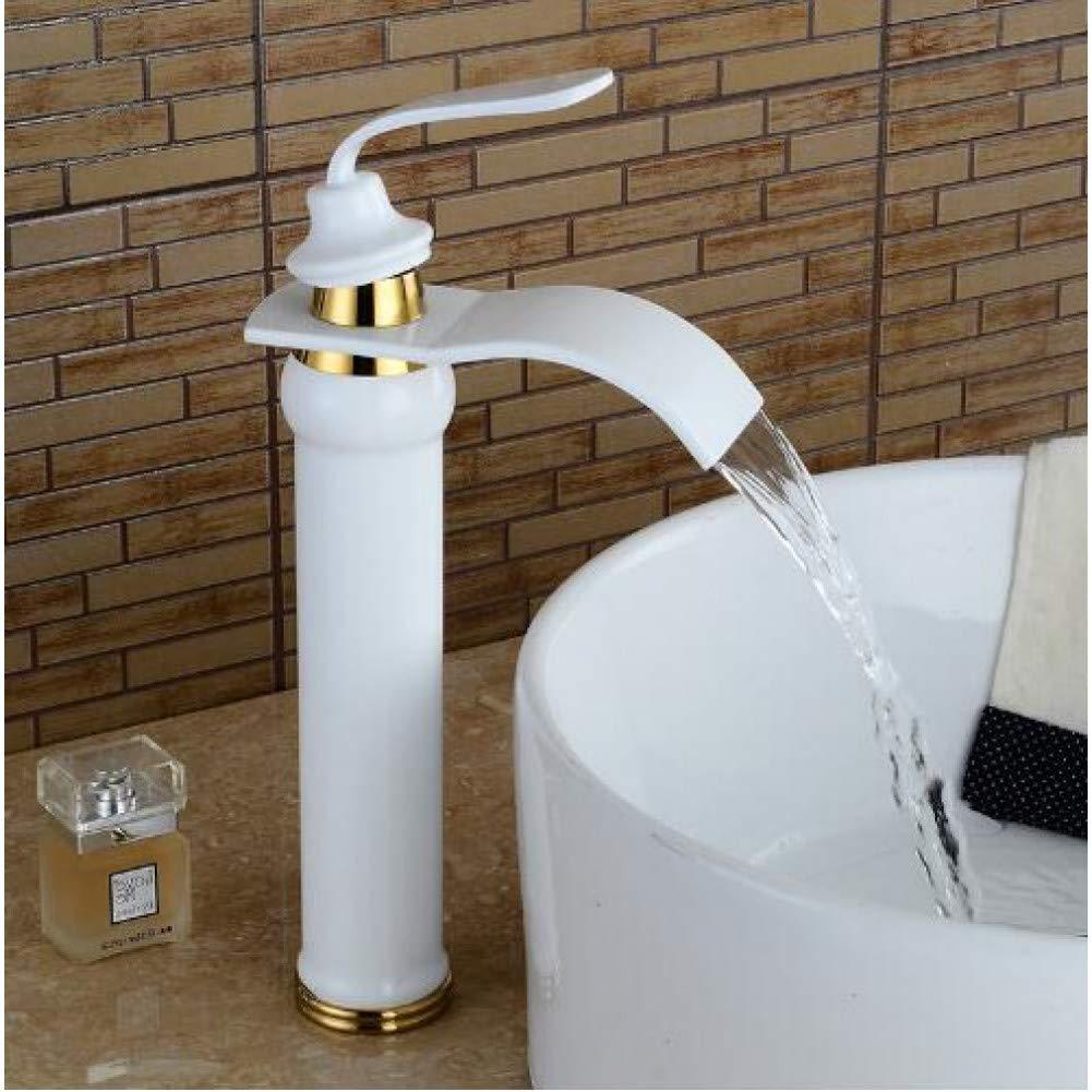 White YHSGY Kitchen Taps Basin Faucets Waterfall Bathroom Faucet Single Handle Basin Mixer Tap Bath Black Faucet Brass Sink Water Crane Silver