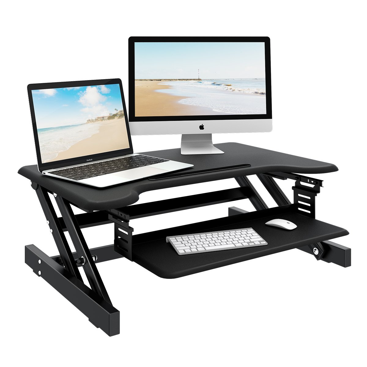 Standing Desk - DEVAISE Height Adjustable Desk Converter with Ipad Slot- Size 32in x 21in Instantly Convert any Desk to a Sit / Stand up Desk (Black) by DEVAISE