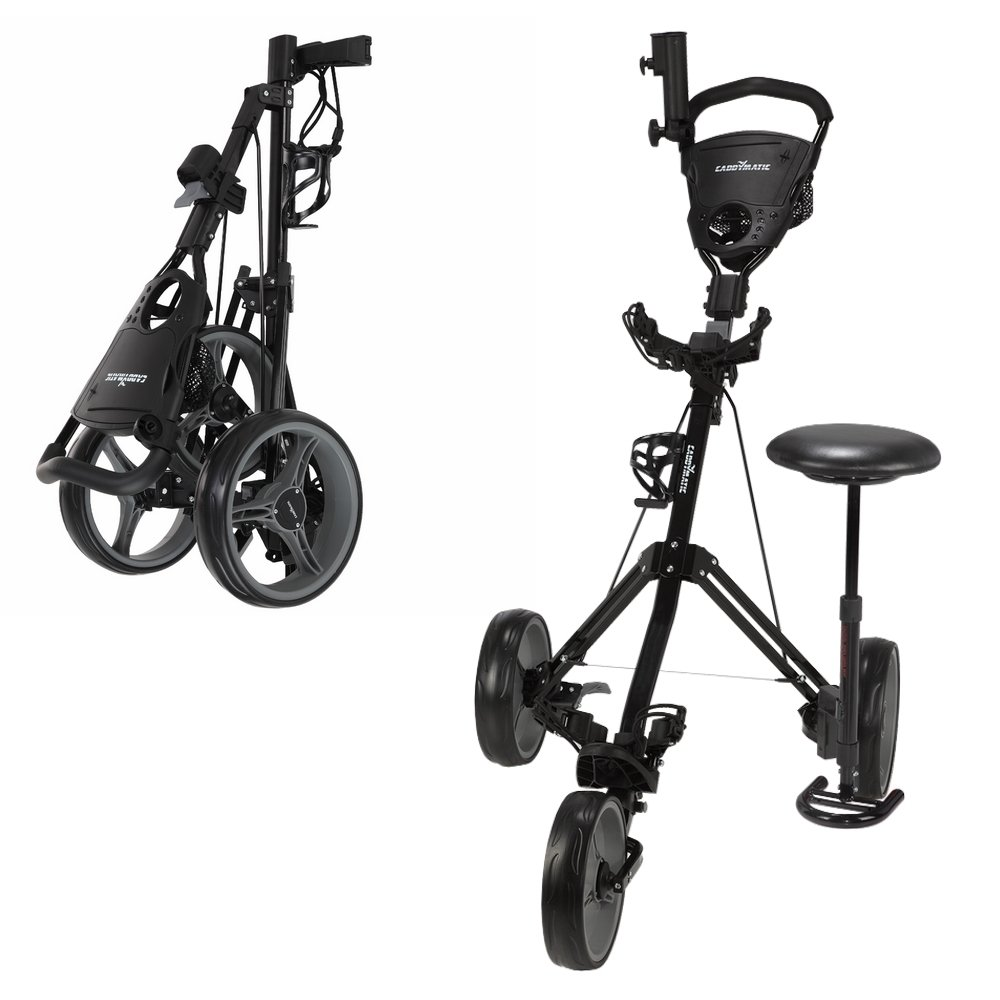 Caddymatic Golf X-TREME 3 Wheel Push Pull Golf Cart with Seat Black