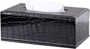 Science Purchase Rectangular PU Leather Facial Tissue Box Napkin Holder for Home Office, Car Automotive Decoration (Black Crocodile)
